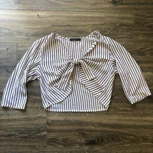 Nasty Gal Striped Tied Semi Sheer Blouse